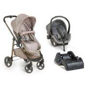Carrinho de Bebê Olympus Cappuccino + Bebê Conforto + Base - Galzerano