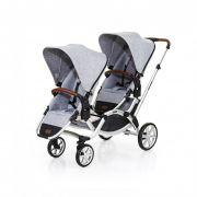 Carrinho Gêmeos Zoom Couro Graphite Grey - Abc Design