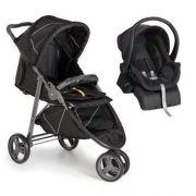 Kit Carro de Bebê 3 Rodas Cross + Bebê conforto Black (Preto) + Base - Galzerano