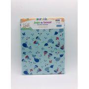 Jogo de Lençol Malha Barquinho Azul - Bercinho Incomfral Ref 03031204010024
