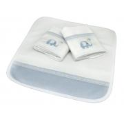 Kit 3 Boquinhas Atoalhado Paris Azul Celeste Chambray  - Ac Baby Ref 07161 8U