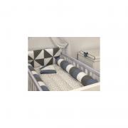 Kit Berço 8 Peças Animal Smiles Rolos Azul Diamantes 200 Fios - AC Baby Ref 05563