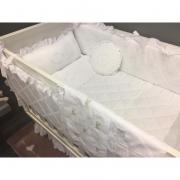 Kit Berço Coleção 2018 la Vie 9 Peças Branco Bordado - Qmama Baby Ref 3319