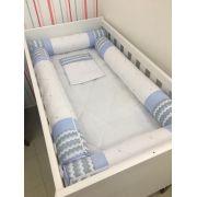 Kit Berço de Rolo Com 6 Pçs Azul Claro Bolinha Branca - Conceição