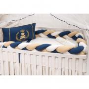 Kit Berço Trança Marinho Coroa Dourada - Medina
