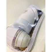 Kit Cesta Rasa Potes Garrafa Termica Branco  - Detalhes Ref 954