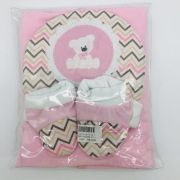 Kit Cobertor 3 Pçs Ursinha Rosa - Bruna Baby Ref 30630