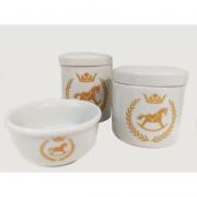 Kit Porcelana Branca Com Cavalo Dourado - 3 PÇS
