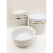 Kit Porcelana Branco Com Filete Dourado - 3 PÇS