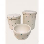 Kit Porcelana Branco Com Póa Azul Bebe 3 PÇS - Detalhes