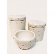 Kit Porcelana Branco Com Póa Rosa 3 PÇS - Detalhes