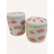 Kit Porcelana Branco Nuvens Rosa - 2 Peças