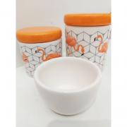 Kit Porcelana Flamingo Tampa Laranja - 3 PÇS