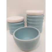 Kit Porcelana Ondulado Azul Claro Com Tampa Branca - 3 PÇS