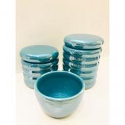 Kit Porcelana Ondulado Azul Turquesa Perolado 3 PÇS - Rossi Niero
