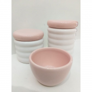 Kit Porcelana Ondulado Tampa e Molhadeira Rose -  3 PÇS