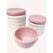 Kit Porcelana Ondulado Tampa Rosa - 3 PÇS