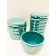 Kit Porcelana Ondulado Verde Turquesa Perolado 3 PÇS - Rossi Niero
