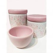 Kit Porcelana Passarinho Rosa -  3 PÇS