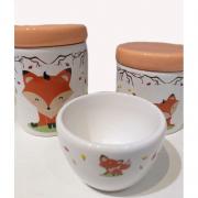 Kit Porcelana Raposa Laranja Claro - 3 PÇS