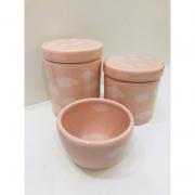 Kit Porcelana Rosa Com Nuvens Rose 3 PÇS - Rossi Niero