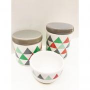 Kit Porcelana Triangulos Com Tampa Cinza 3 PÇS - Rossi Niero