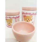 Kit Porcelana Ursinha Rosa Decorada -  3 PÇS