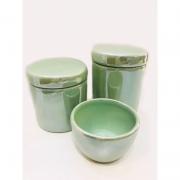 Kit Porcelana Verde Claro Perolado 3 PÇS - Rossi Niero