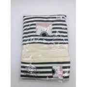 Lençol de Berço Malha Ursinha Listrado Bege - Dbella Ref in 02263-004u