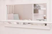 Moldura com Espelho e Barra de apoio Montessori Branco Fosco - Quater