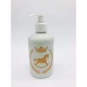 Porta Álcool Gel Porcelana Branco Cavalinho Dourado -  1 UND
