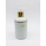 Porta Álcool Gel Porcelana Branco Raminhos Dourado -  1 UND