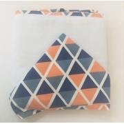 Toalha Banho Dupla Fralda Sem Bordado Triangulo Telha/Marinho/Verde - Ac Baby Ref 03012 614U