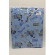 Toalha de Banho Capuz e Forro Azul Urso Bone - Caricia Minasrey Ref 1101