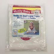 Toalha de Banho Capuz Forrada Fralda Branco - Musky Baby Ref 1872