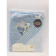 Toalha de Banho Fralda Plush Azul Cavalinho Com Chocalho - Catavento Ref 022