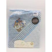 Toalha de Banho Fralda Plush Azul Urso e Coelho - Catavento Ref 022
