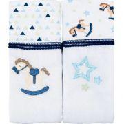 Toalha Fralda Supreme 2 Und Cavalinho e Estrela Azul - Baby Joy Ref 0002