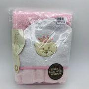 Toalhão de Banho Forrada Fralda Requinte Ursa Coroa Rosa - Cata Vento Ref 504