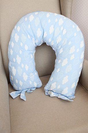 Almofada Amamentação Azul Com Nuvem Branca - Medina