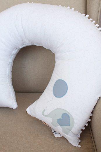 Almofada de Amamentação Piquet Fustão Elefante Balão Azul - Qmama Ref 11