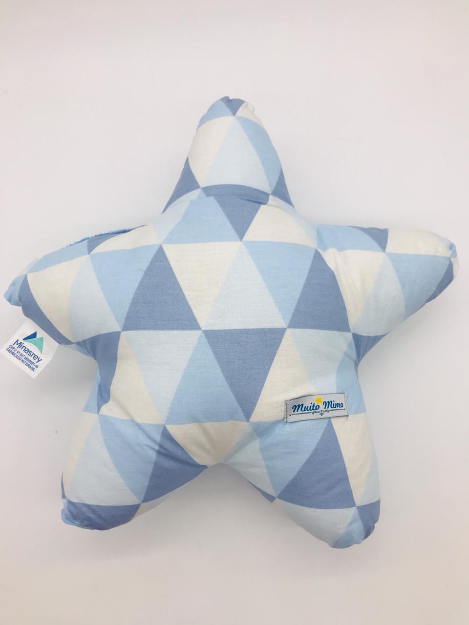 Almofada Estrela Triangulo Azul - m Mimo Minasrey Ref 5549