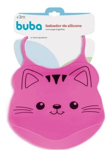 Babador de Silicone com Pega Migalhas Gato Rosa - Buba