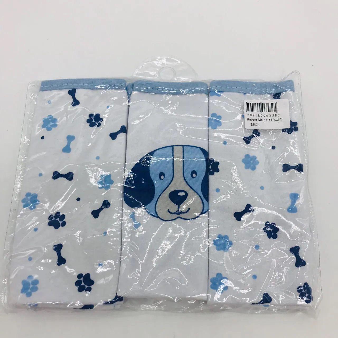 Babete Malha 3 Unid Cachorro Carinhas 25x30 - Minasrey Ref 3582