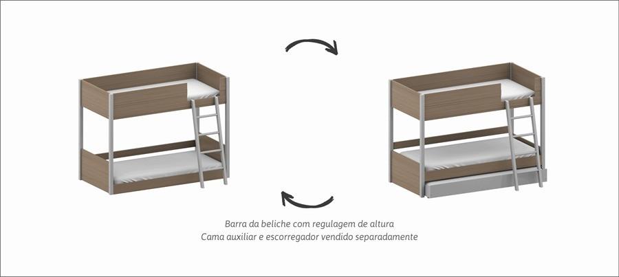 Beliche Açai Com Casinha Cinza Carvalho - Cia do Movel
