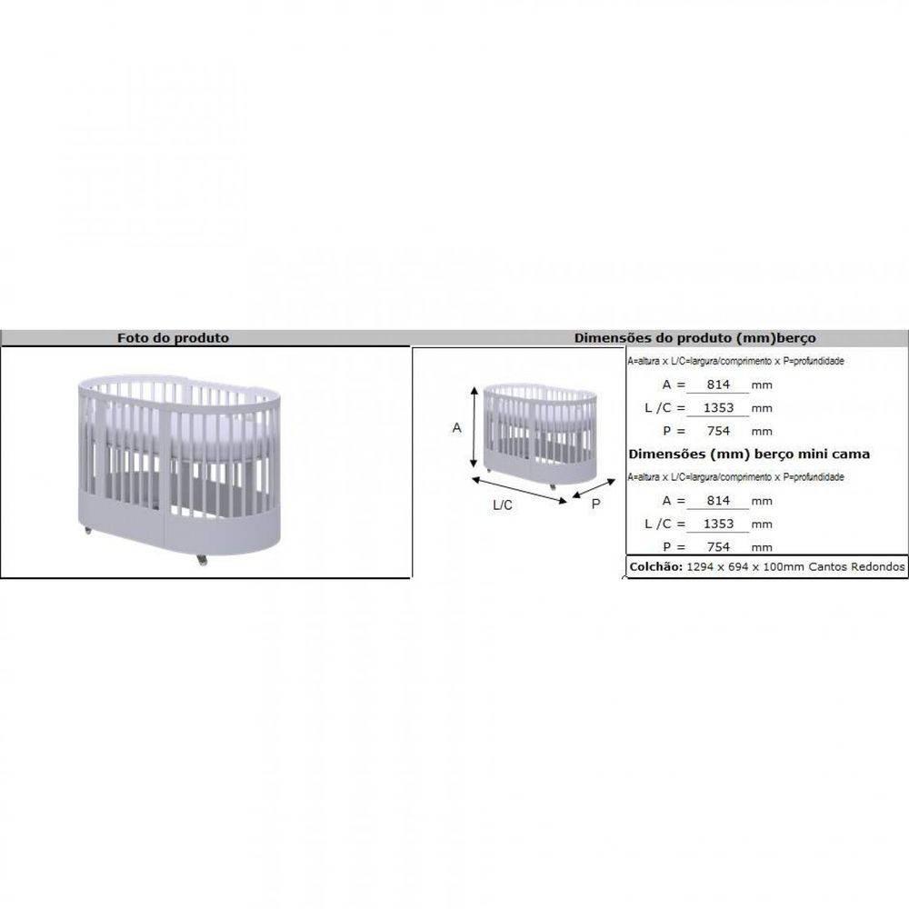 Berço e Mini Cama 3 em 1 Wave Branco - Divicar  Ref:3292BA/M/P