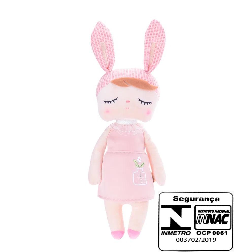 Boneca Mini Angela Jardineira Rosa - Metoo Ref 2262
