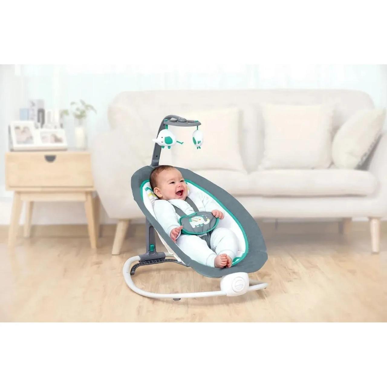 Cadeira Dobravel Cinza Verde Elefante Mastela - Ref 6919