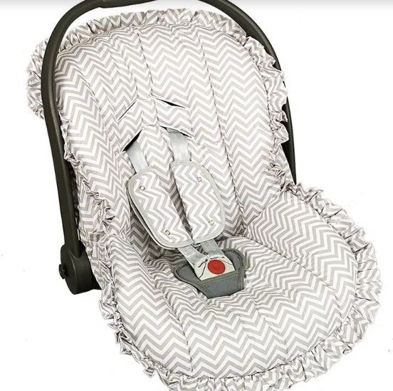 bea21371a Capa Para Bebê Conforto Estampado e Protetor de Berço Chevron Cinza  Batistela Baby Ref - Bebê