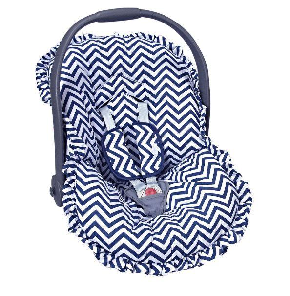 d1ae69397 Capa Para Bebê Conforto Estampado e Protetor de Berço Chevron Marinho -  Batistela Baby Ref 02063